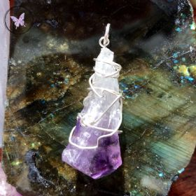 Natural Amethyst Point Silver Wire Wrapped Pendant 03